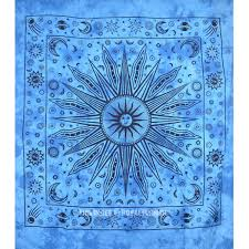 blue celestial tie dye sun moon star planets wall tapestry hippie throw bedding