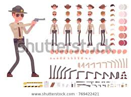 Design Your Own Office Delectable Sheriff Character Creation Set Public Officer Stock Vector Royalty