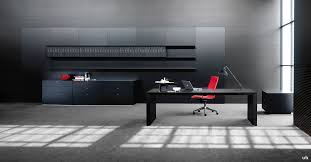 ceo black leather desk with long wall panelling
