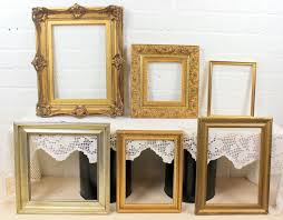 collection of antique gold plated picture frames wood