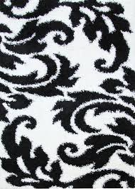 damask style print flooring rug area carpet black white 170x120cm