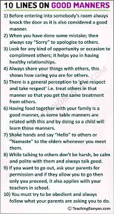 10 lines on good manners in english for