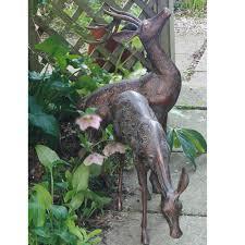 small deer garden statues pair