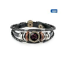 new 12 constellation handmade leather bracelets for women weave multi layer punk 12 zodiac couple charms