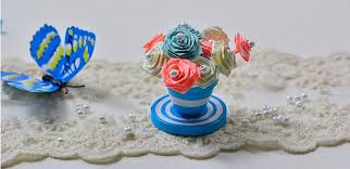 Paper Flower Pots How To Make A Blue Quilling Paper Flower Pot And Flowers For