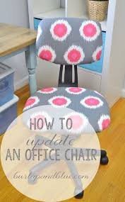 how to update a plain jane office chair with only fabric and hot glue