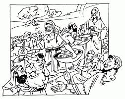 Jesus Feeds The 5000 Coloring Page - glum.me