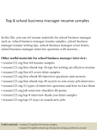 Top 8 school business manager resume samples In this file, you can ref  resume materials ...