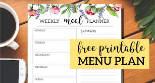Floral Free Printable Meal Planner Template Paper Trail Design