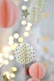 Black & White Polka Dot and Pale Pink Paper Sphere Garland, Strings of  White Twinkle Lights, Silver Glitter Stars // girly