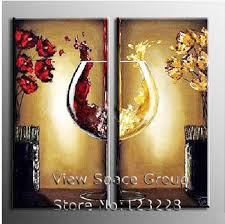 2 panel single wineglass canvas art wine canvas painting picture paint on canvas kitchen canvas wall art oil painting ap0305
