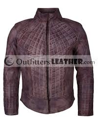 purple waxed mens motorbiker quilted leather jacket