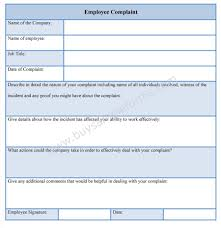 Employee Complaint Form Template