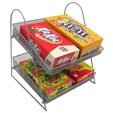 two tier countertop mesh basket candy display