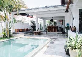 open pool house. This Tropical Bali Retreat Is Complete With Wooden Furnishings, Warm Textiles, And A Pool Open House N