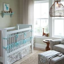 foxy image of baby nursery room decoration using patterned light gray baby bed valance