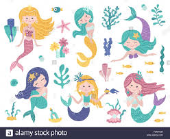 Design Mermaid Set Of Cute Mermaids And Sea Nature Vector Illustration For