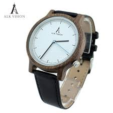 online get cheap mens watches leather band aliexpress com alk vision walnut wristwatch unisex wood watch fashion genuine leather band men watches ladies clock