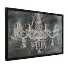 silver and black chandelier wall art with black frame