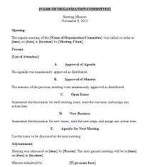Corporate Meeting Minutes Template Template Business