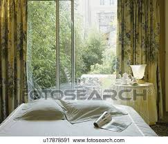 patio doors with patterned curtains