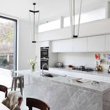 Delightful All White Kitchen With Marble Island Great Pictures