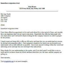 Resignation Letter Samples With Reason Immediate Resignation Letter Example Resignletter Org