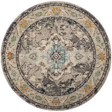 safavieh monaco mahal gray light blue round indoor oriental area rug common 7