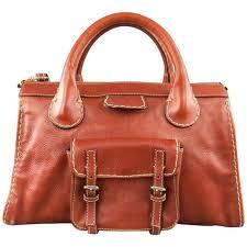 chloe brown contrast stitch leather edith handbag for