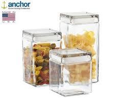 anchor hocking glass storage jar square silicone sealed lid tea coffee pasta