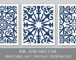 printable art navy blue art set of 3 prints bedroom art blue and white art printable wall art instant download art wall decor on blue and white wall art with instant download art etsy