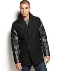 coats sean john faux leather sleeve military pea coat
