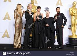 hollywood california 28th feb 2016 makeup artists damian martin 2nd from l elka wardega c and lesley vanderwalt 2nd from r winners of the best