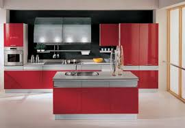 Red Kitchen Floor Tiles Modern Red Kitchen Design With Black Backsplash And White Tile