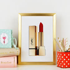 yves saint laurent beaute makeup print lipstick birthday gift gi on red lipstick wall art with best lipstick wall art products on wanelo