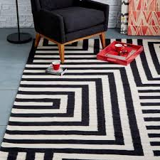black and white geometric rug. kate spade saturday black and white small scale maze dhurrie rug geometric r
