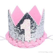 Maticr Sparkled First 1st Birthday Crown Baby Girl Princess Headband