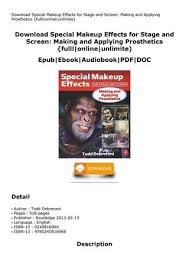 special makeup effects for se and screen making applying prosthetics