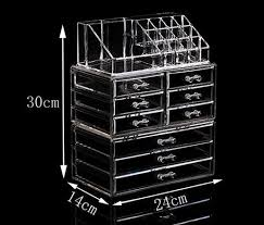 2017 clear acrylic cosmetic display makeup organizer box case storage drawer holder cosmetic cases