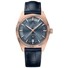 constellation globemaster co axial master chronometer annual calendar rose gold blue dial blue leather men s watch