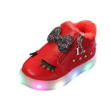 Toddler Girl Shoe Chart Baby Toddler Girls Light Up Shoes Boots 1 6 Years Old Kids Bowknot Crystal Led Luminous Sport Sneaker Shoes