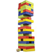 How To Play Tumbling Tower Wooden Block Game Amazon Classic Games Colored Wood Tumble Blocks Toys Games 59