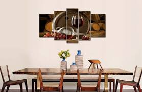 5 panel wall art painting red gs wine barrel and gs