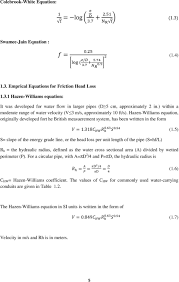 Hazen Williams Formula Pipe Flow Chart Lecture 1 Review Of Pipe Flow Darcy Weisbach Manning
