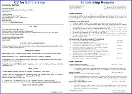 Scholarship Resume Templates Template Example College Format All