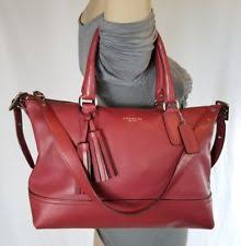 COACH red Legacy Leather Molly duffle shoulder Satchel 21132 purse tote  handbag