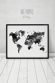World Map Home Decor Black And White Map Etsy