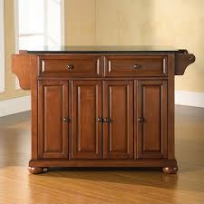 crosley furniture alexandria black granite top kitchen island in classic cherry