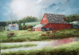 red barn yellow truck 18 x 24 650 sold