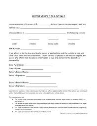 Free Generic Bill Of Sale Template Auto Sales Printable